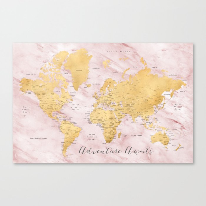 Adventure awaits, gold and pink marble detailed world map,