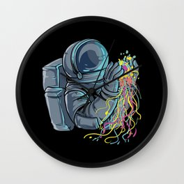 Astronaut with colorful Jellyfish Wall Clock