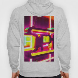 night light with open neon sign in pink yellow green background Hoody