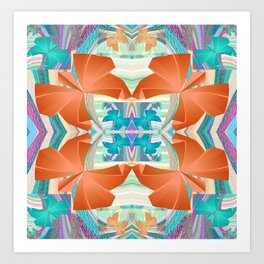 Smooth 3D Butterfly Floral Fractal Art Print