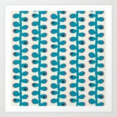 Like a Leaf [blue spots] Art Print