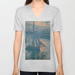 Sunrise Marine by Claude Monet, 1873 Unisex V-Neck