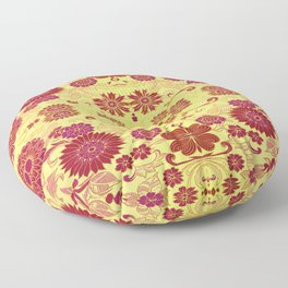 Red Retro Floral Floor Pillow