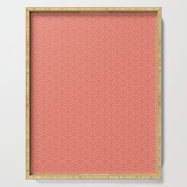 Pantone Living Coral Scallop Wave Pattern and Polka Dots Serving Tray
