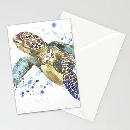 Abstract Watercolor Sea Turtle on White 2 Minimalist Coastal Art - Coast - Sea - Beach - Shore Stationery Cards