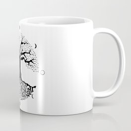 black and white tree of life with moon phases and celtic trinity knot II Coffee Mug