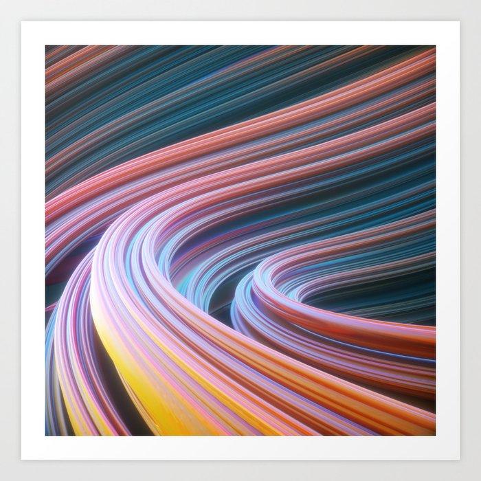 Swirly waves 04 Art Print