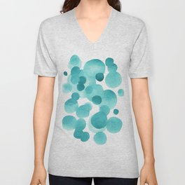 Aqua Bubbles: Abstract turquoise watercolor painting Unisex V-Neck