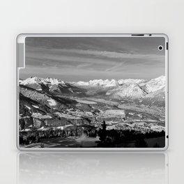 Innsbruck In Winter From Patscherkofel Mountain black white Laptop & iPad Skin