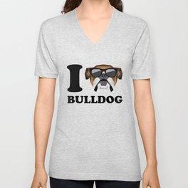 I Love Bulldog modern v1 Unisex V-Neck
