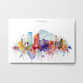 Colorful Honolulu skyline design, Hawaii cityscape Metal Print