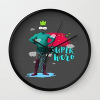 super hero Wall Clocks featuring SUPER HERO by SNEP
