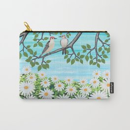 red bellied woodpeckers and daisies Carry-All Pouch