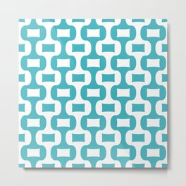 Mid Century Modern Ogee Pattern 307 Turquoise Metal Print