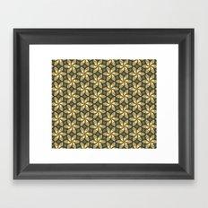 Flower Pattern Yellow/Deep Green Framed Art Print
