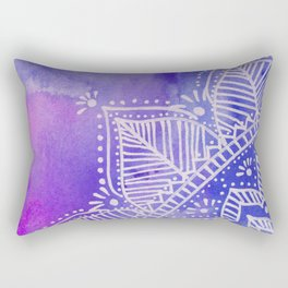 Mandala flower on watercolor background - purple and blue Rectangular Pillow