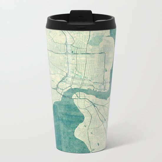 Jacksonville Map Blue Vintage Metal Travel Mug