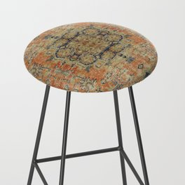 Vintage Woven Coral and Blue Bar Stool
