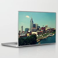 nashville Laptop & iPad Skins featuring Nashville Skyline by Sydney Smith