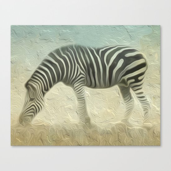 Zebra grazing Canvas Print