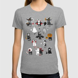 Horror Cats and mouses. Cute witch, vampire, angel and demon T-shirt