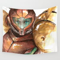 metroid Wall Tapestries featuring Samus by Alonzo Canto