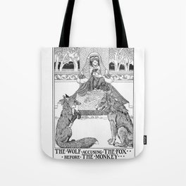 Wolf Accusing Fox Before Monkey Tote Bag