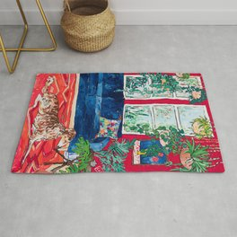 Red Interior with Borzoi Dog and House Plants Painting Rug