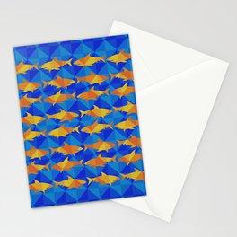 Orange Sharks On Blue Square. Stationery Cards