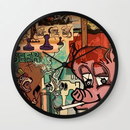 Pigs and Pawns Wall Clock