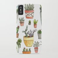 succulents iPhone & iPod Cases featuring Potted Succulents by Brooke Weeber