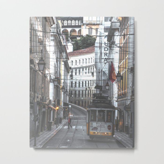 Lisbon Street Tram Metal Print