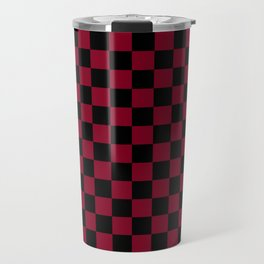 Black and Burgundy Red Checkerboard Travel Mug