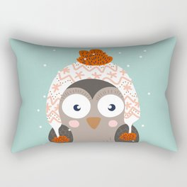 Owl Under Snow in the Christmas Time. Rectangular Pillow