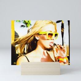 5395 Blonde Girl in Lemon Sunglasses Mini Art Print
