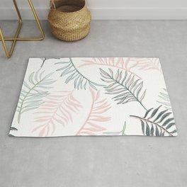 Large Pastel Palm Leaf Line Drawing Pattern - White Rug