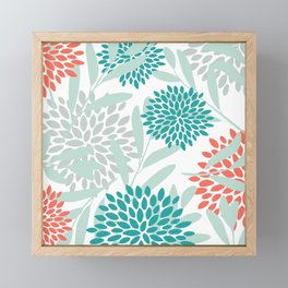 Festive, Floral Leaves and Blooms Coral, Teal Green and White Framed Mini Art Print