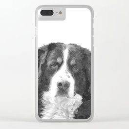 Black and White Bernese Mountain Dog Clear iPhone Case