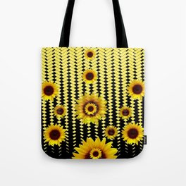 YELLOW SUNFLOWERS BLACK ABSTRACT PATTERNS ART Tote Bag