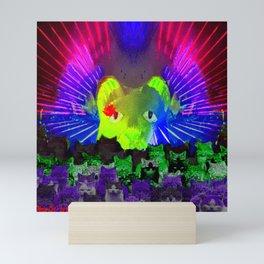 Neon Cat Laser Light Show Mini Art Print