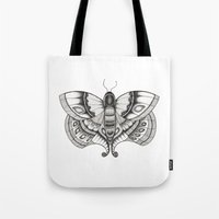 moth Tote Bags featuring MOTH by silb_ck
