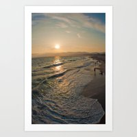 santa monica Art Prints featuring Santa Monica by Nikole Lynn Photography