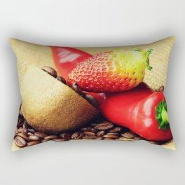 Coffee beans Kivi strawberry pepper Rectangular Pillow