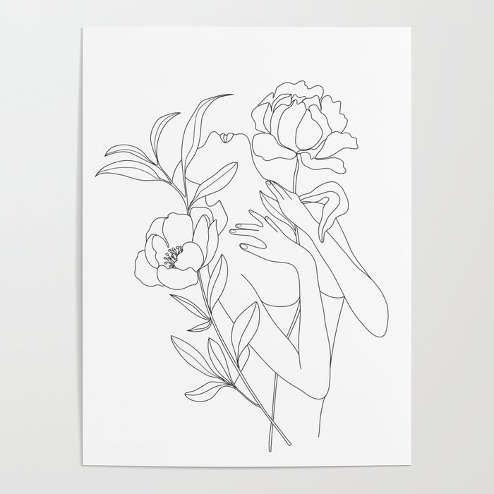 Minimal Line Art Woman with Peonies Poster