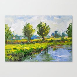 Dutch polderlandscape with willows Canvas Print