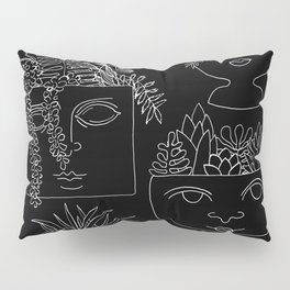 Illustrated Plant Faces in Black Pillow Sham