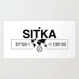 Sitka Alaska Map GPS Coordinates Artwork with Compass Art Print