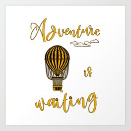 Adventure is Waiting Retro Hot Air Balloon Pilot Art Print