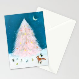 Pink Christmas Tree Stationery Cards