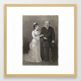 Design for illustration in The Amsterdam, HM King William III and his youthful wife Queen Emma, 18 Framed Art Print